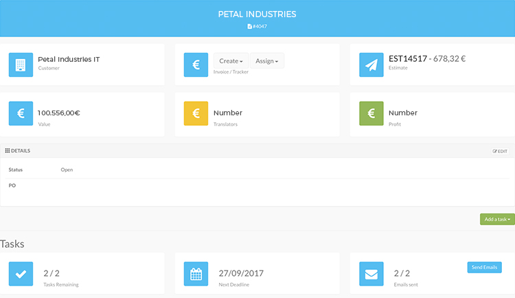 Translation ERP Dashboard